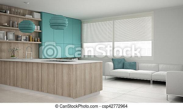 Turquoise, bois, détails, conception, minimalistic,... image de ...