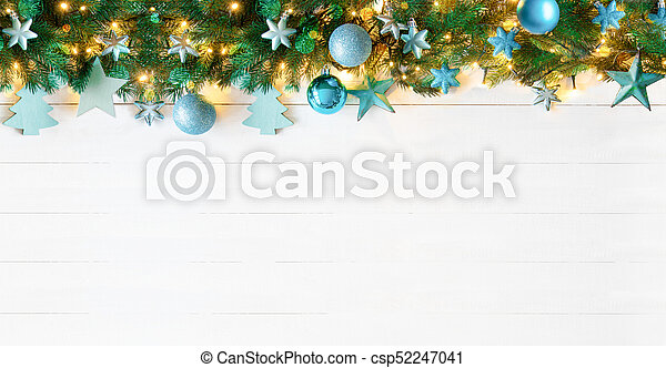 Turquoise Christmas Lights.Turquoise Christmas Banner White Wood Copy Space
