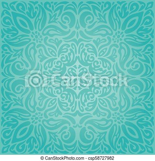 Turquoise Floral Holiday Vintage Background Wallpaper Green Blue Fashion Mandala Design
