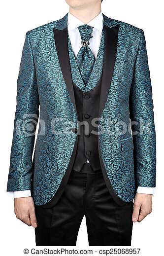 Turquoise mens suit with floral pattern, for wedding or prom ...