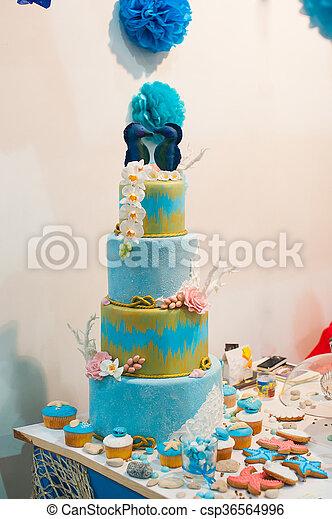 Turquoise Modèle Sucre Gâteau Mariage Table Décoré