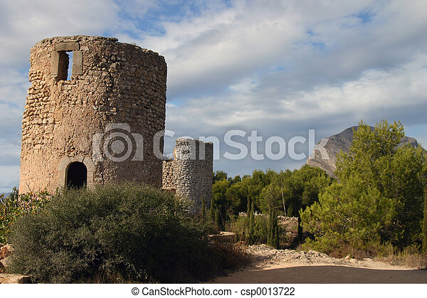 turrets on hillside - csp0013722