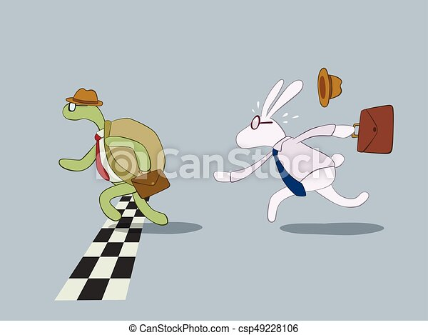 Turtle and rabbit business racing - csp49228106