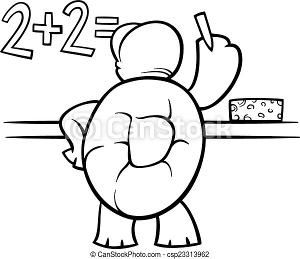 Turtle at blackboard coloring page Black and white cartoon clip