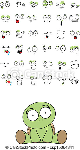 Turtle Baby Cute Sitting Cartoon Set In Vector Format Very Easy To Edit