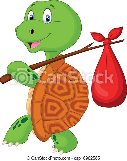 Turtle cartoon traveling  - csp16962585