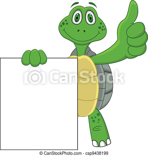 Turtle cartoon with thumb up  - csp9438199