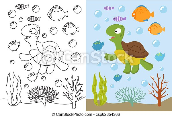 Turtle Coloring Pages Cartoon Swimming Sea Animals Underwater Vector Illustration For Kids Coloring Book