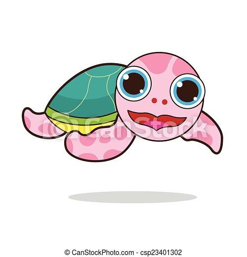 Turtle cute cartoon - csp23401302