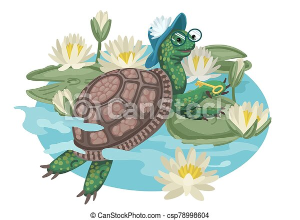 Turtle In Glasses And Hat Cartoon Vector Illustration Cartoon