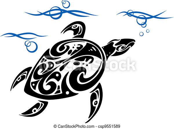 Turtle in sea water - csp9551589