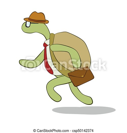 Turtle running isolated on white background - csp50142374