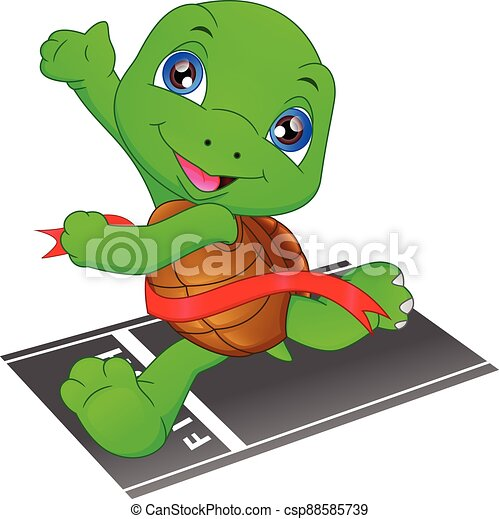 turtle running, turtle crossing the finish line, turtle fast is the winner - csp88585739