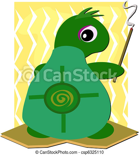 Turtle Smudging with Incense Stick - csp6325110
