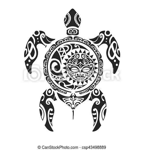 Turtle Tattoo In Maori Style Vector Illustration Eps10