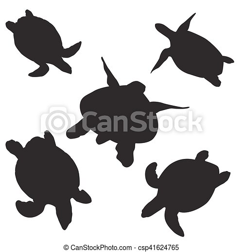 turtle vector silhouettes - csp41624765