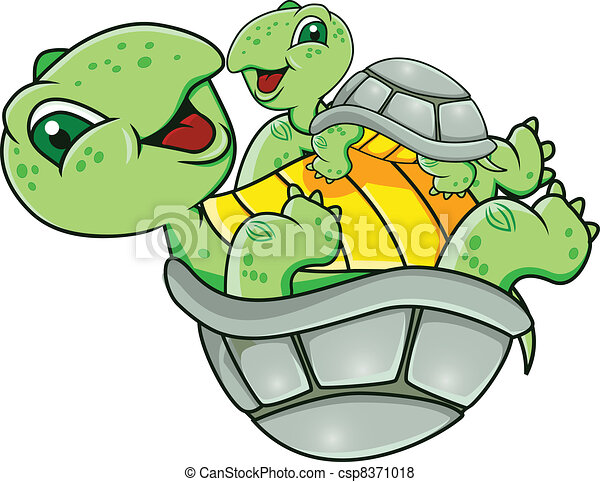Turtle with baby - csp8371018