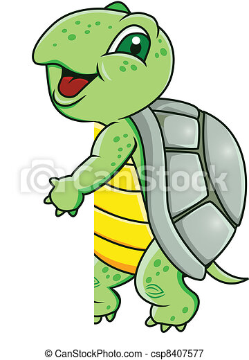 Turtle with blank sign - csp8407577