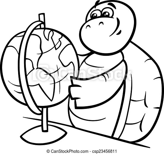 Vector Clip Art of turtle with globe coloring page Black and