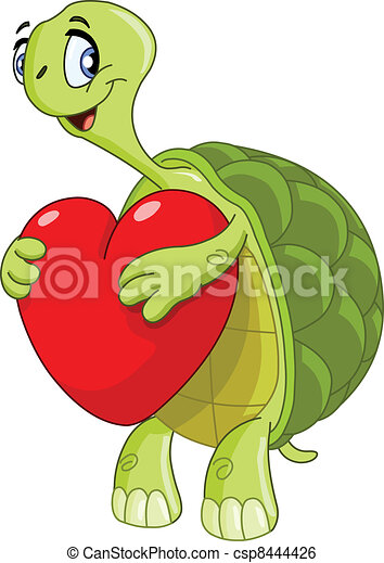 Turtle with heart - csp8444426