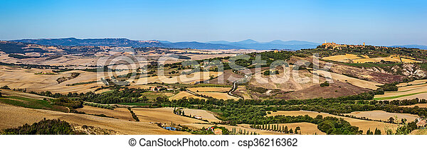 Tuscany landscape panorama with Pienza town on the hill, Italy. - csp36216362
