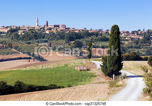Tuscany landscape with Pienza town on the hill, Italy. - csp31325748
