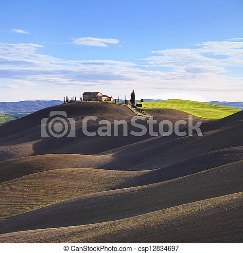 Tuscany, rural landscape in Crete Sensi land. Plowed rolling hills, countryside farm, cypresses trees, green field and blue sky. Siena, Italy, Europe. - csp12834697