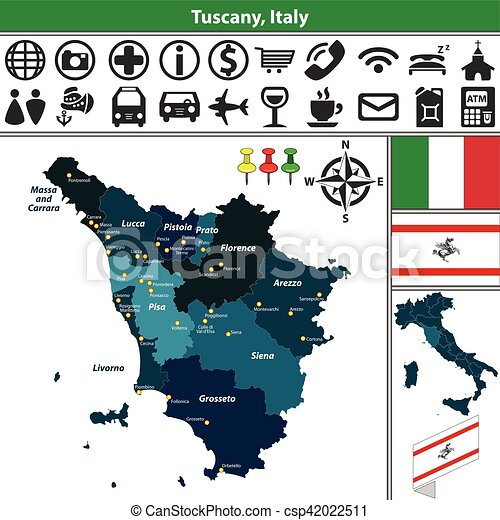 Tuscany with regions, Italy - csp42022511