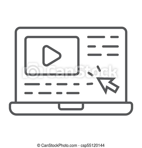Tutorials Thin Line Icon E Learning And Education Video Lessons Sign Vector Graphics A Linear Pattern On A White Background Eps 10