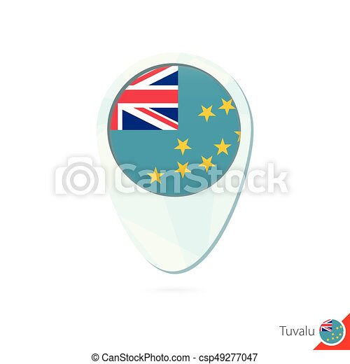 Tuvalu flag location map pin icon on white background eps vector