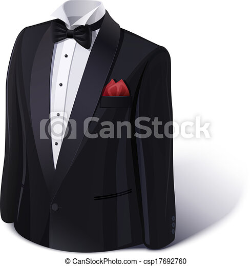Tuxedo and bow. Stylish suit. - csp17692760
