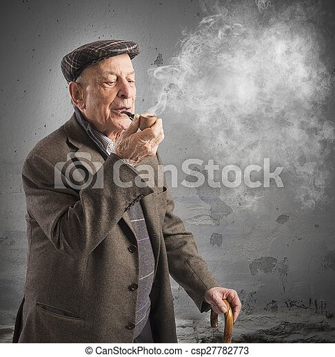 Vieil homme pipe