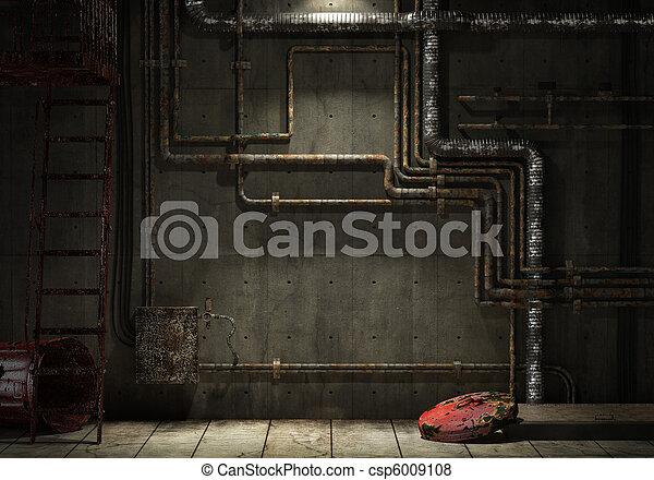 tuyau, mur, industriel, grunge - csp6009108