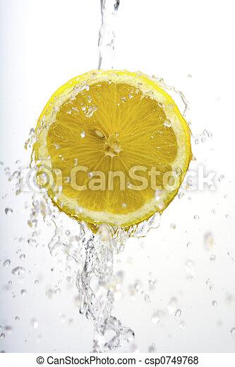 tvätta, citron, halvt - csp0749768