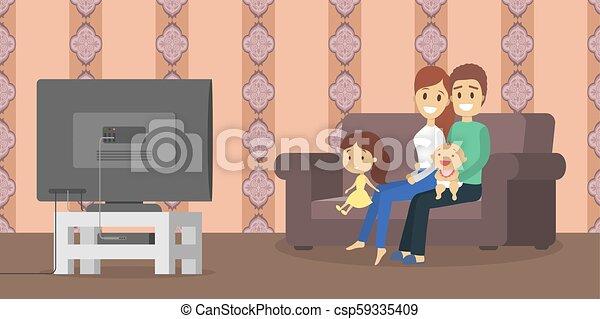 tv życie, pokój, rodzina, oglądając - csp59335409