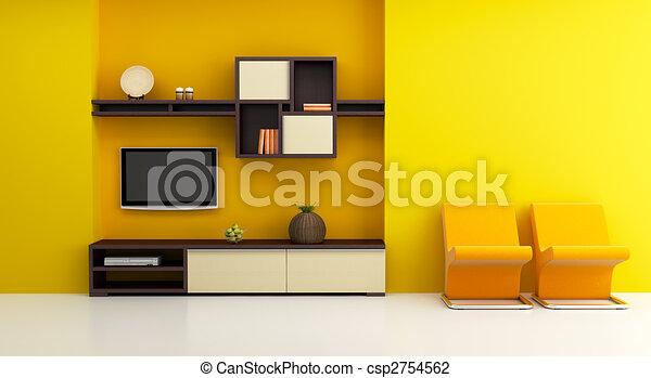 tv, ラウンジ, 内部, 部屋, 本棚 - csp2754562