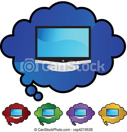 tv, 平らなスクリーン - csp4219538