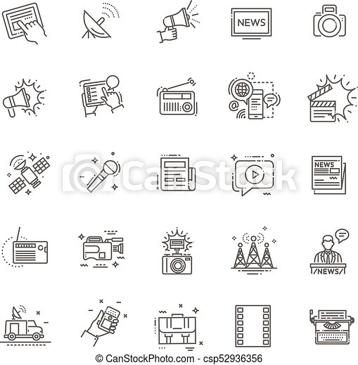 TV and media news vector icons set - csp52936356