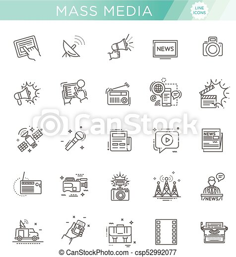 TV and media news vector icons set - csp52992077