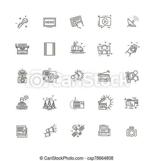 TV and media news vector icons set - csp78664808