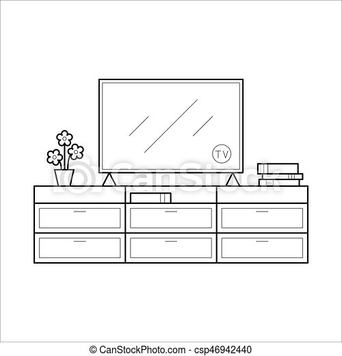 Tv bench in thin line. table with television. element of hous living ...