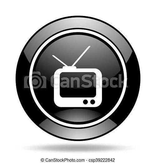 tv black glossy icon - csp39222842