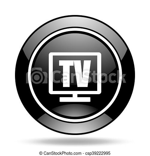 tv black glossy icon - csp39222995
