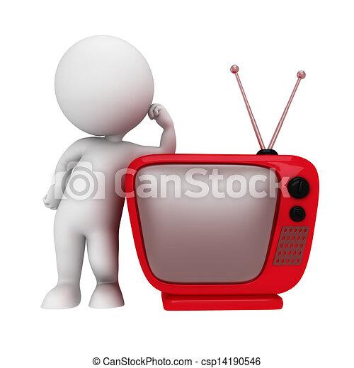 tv, blanc, 3d, gens - csp14190546
