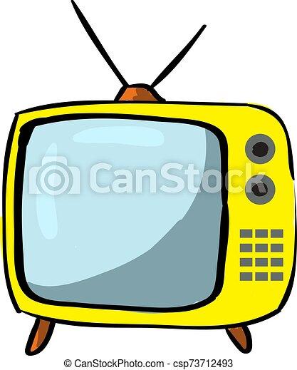 tv, blanc, jaune, arrière-plan., vecteur, illustration - csp73712493