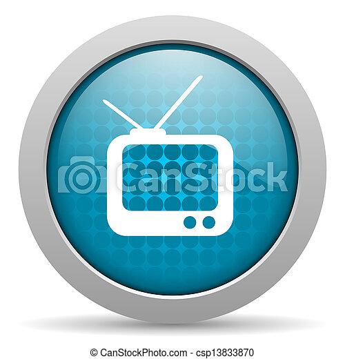 tv blue circle web glossy icon - csp13833870
