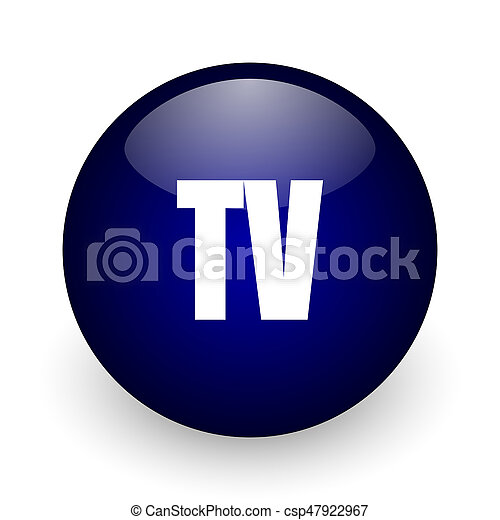 Tv blue glossy ball web icon on white background. Round 3d render button. - csp47922967