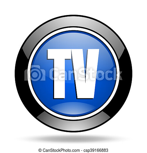 tv blue glossy icon - csp39166883