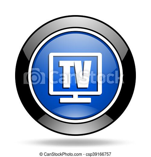 tv blue glossy icon - csp39166757