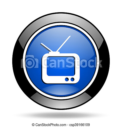 tv blue glossy icon - csp39166109